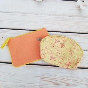 Bundle of 2 yellow and orange ipsy cosmetic bags